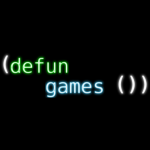 (defun games ()) logo, black background